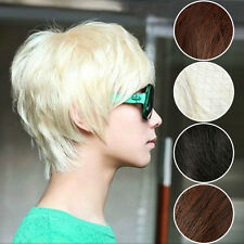 Men Cool handsome Full wig wigs Black Brown Short Toupee Full Straight wig Gift