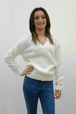 4 color SM&ML Ladies women girls V neck cable knit top jumper cardigan sweater