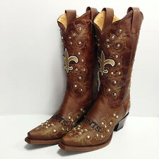 New Orleans Saints Ladies Crystal Flyover Pull Up Brown Cowboy Boots Size 7,8,10