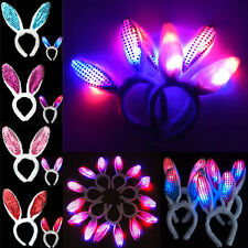 4 Color LED Sequins Shining Fluffy Rabbit Ears Hair Band Bunny Party Xmas Supply