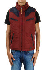 DIESEL men red Sleeveless padded jacket jeans inserts and finishing details