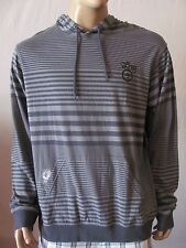 New LRG Mens Grey Knit Striped Core Collection Two Layering Pullover Hoodie $54