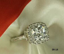 5.53CT STERLING SILVER CUSHION CUT CZ PAVE ANNIVERSARY ENGAGEMENT WEDDING RING C