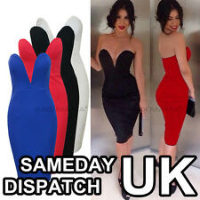 WOMENS CELEBRITY SEXY V NECK BACKLESS CLUB STRAPLESS BODYCON PARTY EVENING DRESS