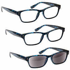 2 x Reading Glasses 1 x Sun Readers 3 Pack Mens Womens Blue UVRSR3PK005