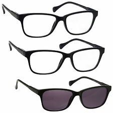 2 x Reading Glasses 1 x Sun Readers 3 Pack Mens Womens Black UVRSR3PK026