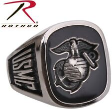 ARMY or Marine Military Forces Black Onyx Insignia Engraved Class Ring 844 846