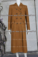 Doctor is Who Cosplay Dr Brown Trench Coat Costume New Version suede Halloween