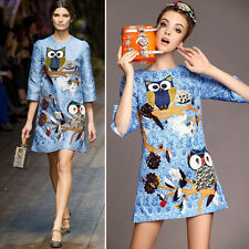 Vogue Owl Branch Embroidered Jacquard Ladies Half Sleeve A-line Sexy Mini Dress