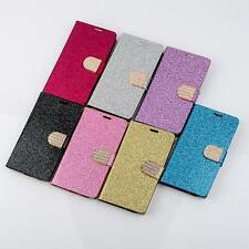 Bling Crystals Flip Wallet Artificial Leather Case Cover For Mobiles Cell Phones