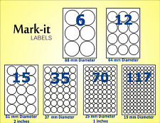 Round Sticky A4 Printer Circle Labels sheets self adhesive permanent peel off