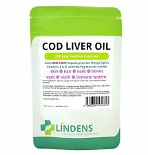 Lindens Cod Liver Oil Easy Swallow Capsule 100% RDA for Vitamin A & D One a Day