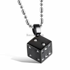 Fashion Stainless Steel Dice Mens Ladies Pendant Necklace Chain Charm Gift