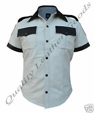 MEN 100% GENUINE SHEEP LEATHER WHITE CONTRAST MILITARY UNIFORM SHIRT LARGE BLUF