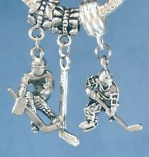 Hockey Stick Puck Goalie Sports Charms Clip On, Slide On Bead or Belly Ring