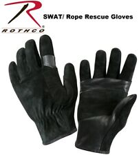 BLACK Military & Police  Security SWAT Fast Rope Leather Rescue Gloves 3482