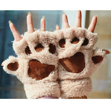 Fingerless Cat Claw Paw Mittens Plush Gloves Soft Winter Half Finger Lovely Gift
