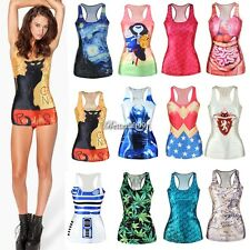 Sexy Flower Tank Tops Vest Racer Cami Sleeveless Casual T-Shirt Blouse New BF9