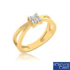 0.14 Ct Natural Real Diamond Ring 100% Certified 14K Hallmarked Gold Ring