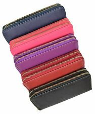 Womens Wallet Leather Double Zipper Multi Card Cash Coin Organizer Clutch Purse