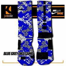 BLUE GREY DIGI CAMO Custom Nike Elite Socks basketball