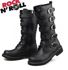 2014 Sreet PUNK Rock Fashion--MEN TOP COOL # High Knee Motorcycle Army Boot-ROLL