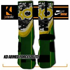 KD ARMED FORCES Custom Nike Elite Socks basketball green yellow kevin durant