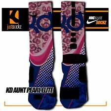 KD AUNT PEARL Custom Nike Elite Socks basketball blue roses pink boys athletic