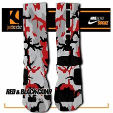 RED & BLACK CAMO Custom Nike Elite Socks athletic football unisex lax youth