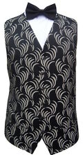MENS BLACK & GOLD SWIRL DRESS TUXEDO PROM CRUISE SUIT WAISTCOAT S M L XL 2XL 3XL