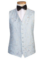 MENS & BOYS SKY POWDER BLUE SWIRL DRESS TUXEDO PROM TUX DJ CRUISE SUIT WAISTCOAT