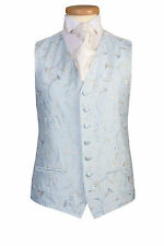 MENS BOYS SKY POWDER BLUE SWIRL DRESS TUXEDO PROM WEDDING CRUISE SUIT WAISTCOAT