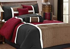 NEW! 11pc Burgundy Quilted Patchwork Comforter Set with Matching Curtain Set
