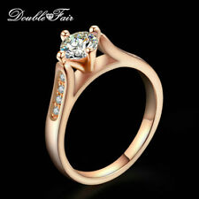 0.5 Carat Round Cut Cubic Zirconia Finger Ring 18K Gold Plated Wedding For Women