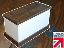 Solid Pine Storage Box, White Painted & Waxed Rustic Blanket Ottoman