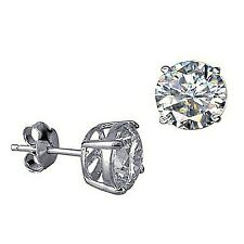 NEW Genuine Solid 925 Sterling Silver Round Cubic Zirconia Stud Earrings
