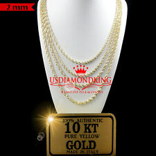10K AUTHENTIC YELLOW GOLD DIAMOND CUT HALLOW ROPE CHAIN NECKLACE 2MM 18''~20''