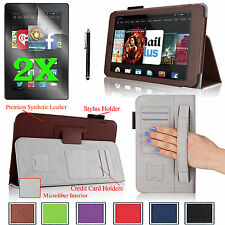 """PU Leather Case Cover Stand For 2014 Amazon Kindle Fire HD 7""""+Accessories Bundle"""