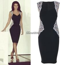 Sexy New Women Lace Bodycon Party Sleeveless Pencil Cocktail Mini Dress BF9