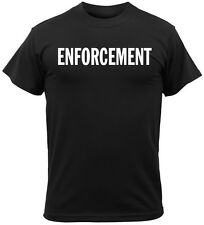 BLACK Police Security ENFORCEMENT ISSUE 2-Sided Law Enforcement T-Shirt 4612