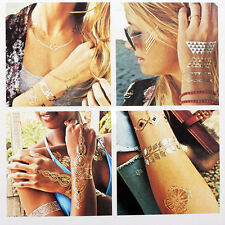 Jewelry Inspired Metallic Temporary Tattoos Stickers Flash Tattoo Gold Silver