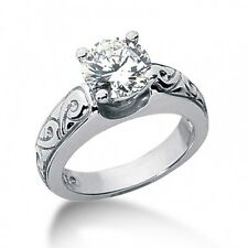 1.05CT Certified Round Cut Diamond Solitaire Engagement Ring in 14kt White Gold