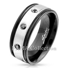 FAMA 3 Black CZ Steel Center with Black IP Edge Stainless Steel Ring Size 9-13
