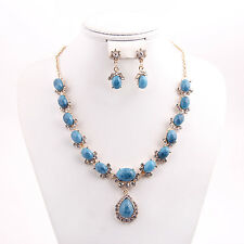 Dubai Women 18K Gold Plated Resin Necklace Earrings Fashion African Jewelry Sets