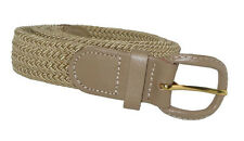"400 - BEIGE NYLON STRETCH BRAIDED BELT 1.25"" WIDE ON SALE & SIZES TO FIT MOST"