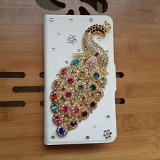 DIY Hot sale New Bling Diamond Peacock PU leather Flip case cover for Nokia