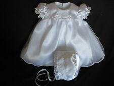 Girsl Satin/Organza Christening/ Baptism/ Wedding / Dress Bonnet Sz 0-18 Months
