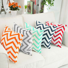 Zig Wave Stripes Cotton Pillow Case Sofa Home Decor Throw Square Cushion Cover