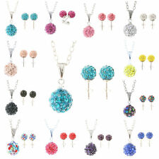 Shamballa Crystal Bead Disco Cute Ball Charm Silver Necklace Stud Earring Set