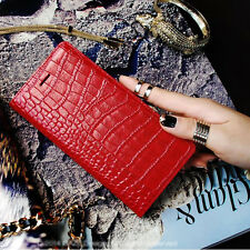 iPhone 6/6s, 6/6s Plus Case Leather Cover Crocodile Ruby Croco Wallet Clutch Red